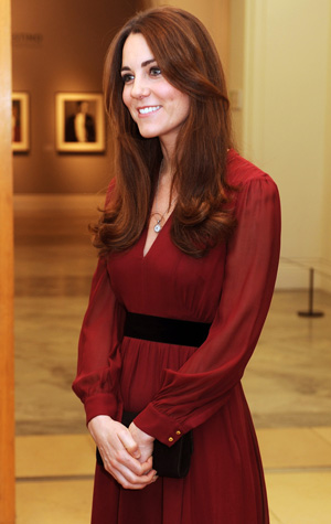 Kate Middleton at a private viewing of her official portrait on January 11. (Getty Images)