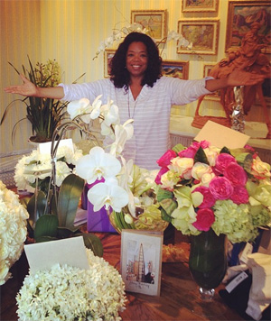 Oprah on her birthday (Instagram)