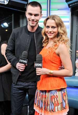 Palmer and Hoult promoting 'Warm Bodies.' (Getty Images)