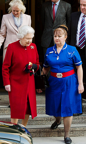 The Queen as she left the hospital on Monday. (Warrick Page/GettyImages)