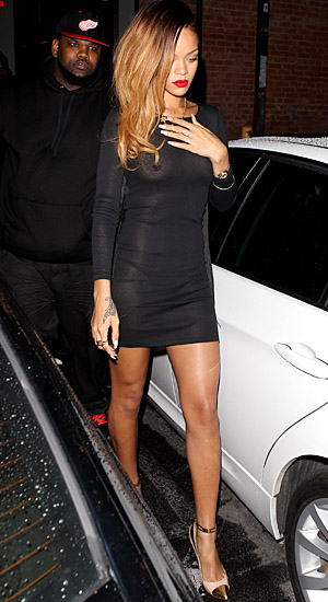 A tame photo of Rihanna's see-through dress. (AKM-GSI)