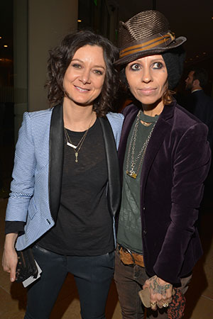 Sara Gilbert and Linda Perry at Clive Davis's pre-Grammy party, February 2013 (Lester Cohen/Getty Images)