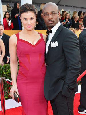 Diggs and wife Idina Menzel at SAGs. (Alberto E. Rodriguez/Getty Images)