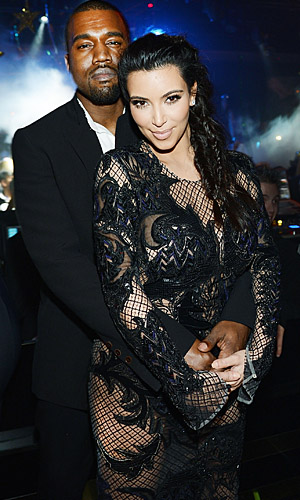 Kanye West and Kim Kardashian on December 31, 2012 (Denise Truscello/WireImage)