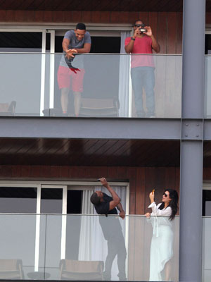 What luck! Kim and Kanye's room in Rio was right below Will Smith's! (Honopix/PacificCoastNews.com)