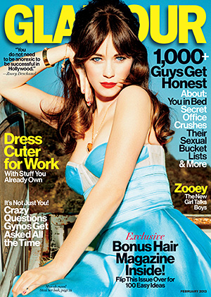 Deschanel on Glamour. (Ellen von Unwerth)