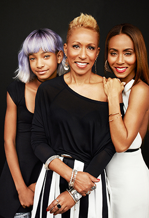 Jada Pinkett Smith with her daughter Willow, left, and mom Adrienne, far right. (Andrew Eccles for Redbook)