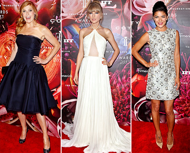 (L-R)Connie Britton, Taylor Swift, and Jessica Szohr hit The Fragrance Foundation Awards. (Getty)