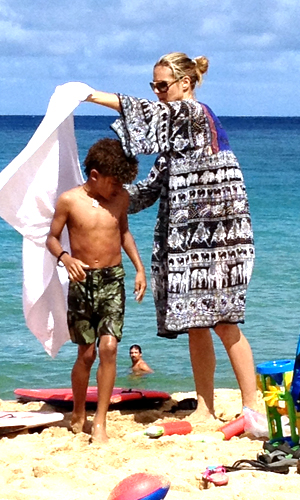 Heidi Klum and 7-year-old son Henry in Hawaii. (FameFlynet)