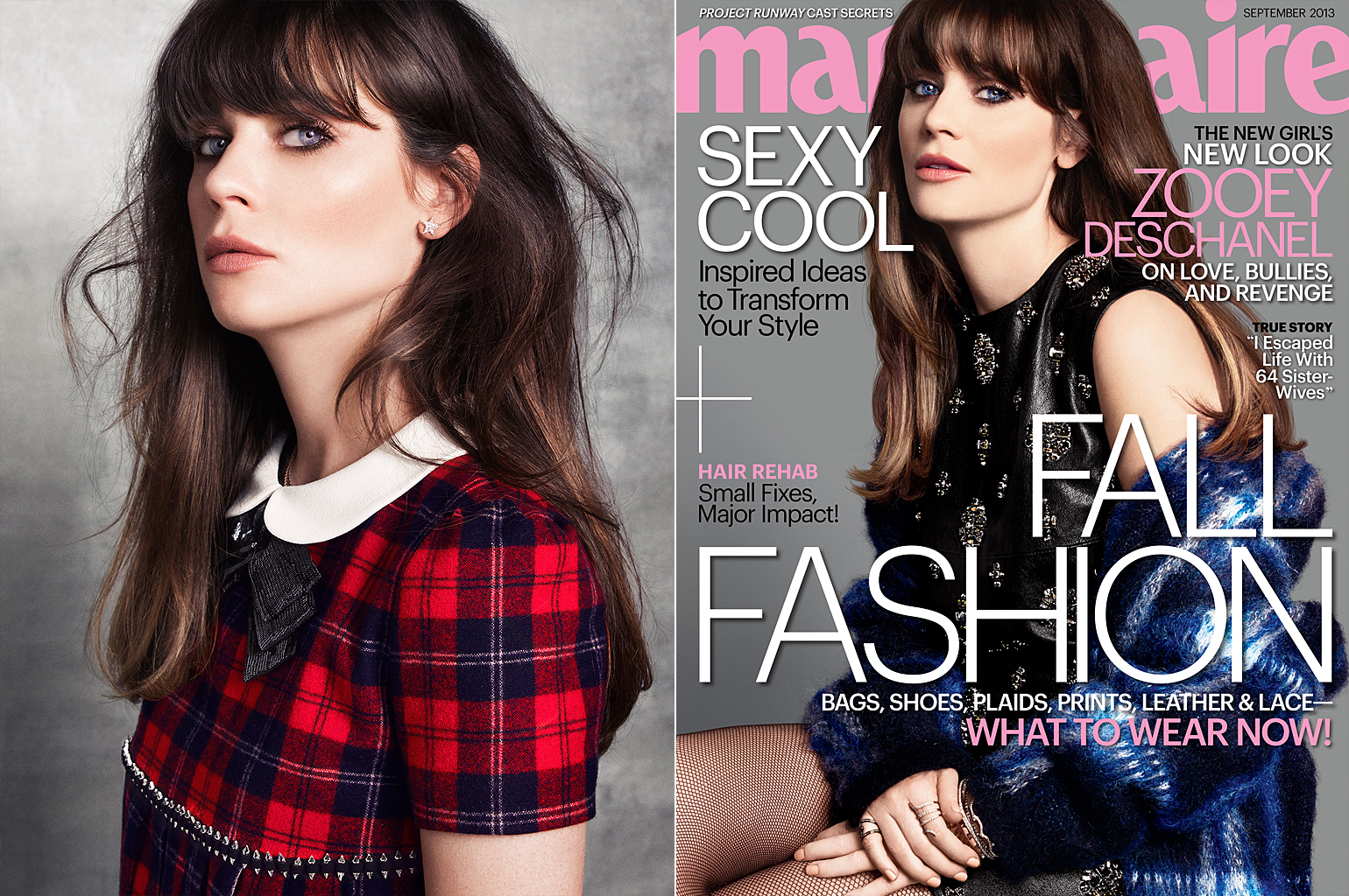 Zooey Deschanel covers the September issue of Marie Claire (Tesh/Marie Claire)