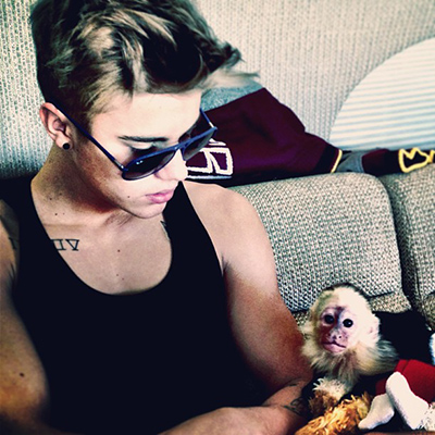 Justin Bieber and his monkey bond. (Instagram)