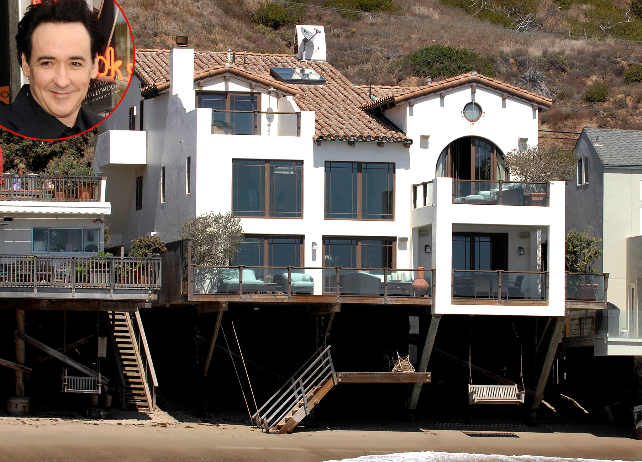 John Cusack's Malibu home (Splash News/Getty Images, inset)