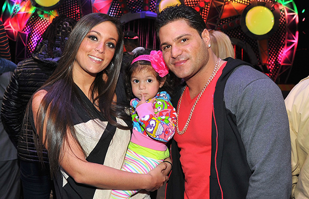 Sammi Giancola and Ronnie Ortiz-Magro with Ronnie's baby half-sister, Gabby (Getty Images)