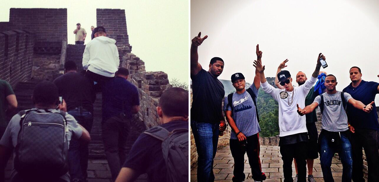 Justin Bieber is carried up the Great Wall of China (Twitter)