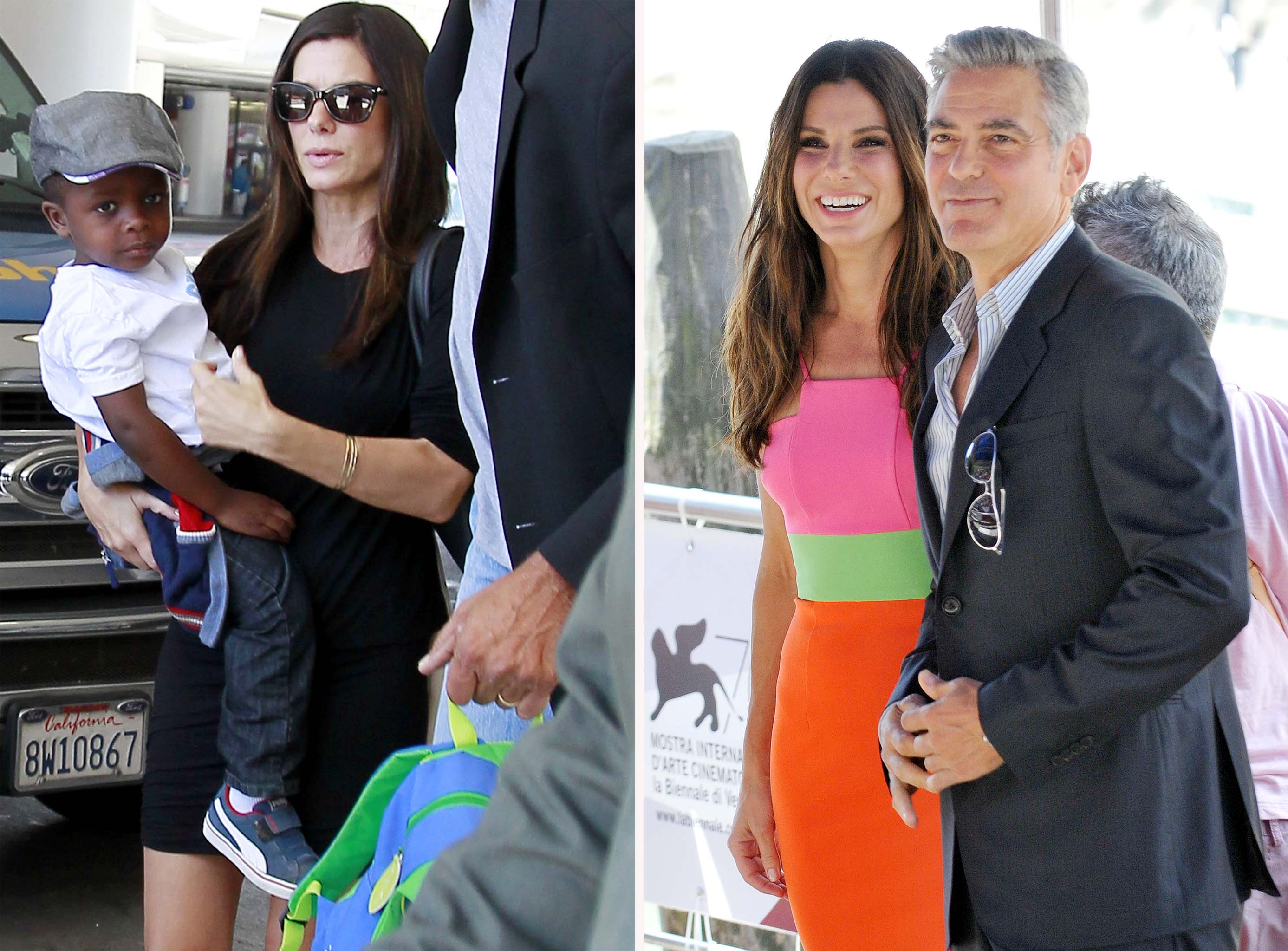 Sandra Bullock with Louis and George Clooney. (FameFlynet/Splash News)