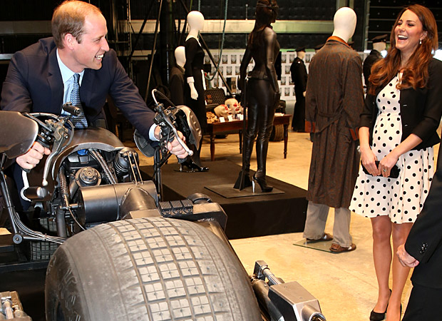 Prince William rides the Batpod at Warner Bros. Studios. (Paul Rogers - WPA Pool/Getty Images)