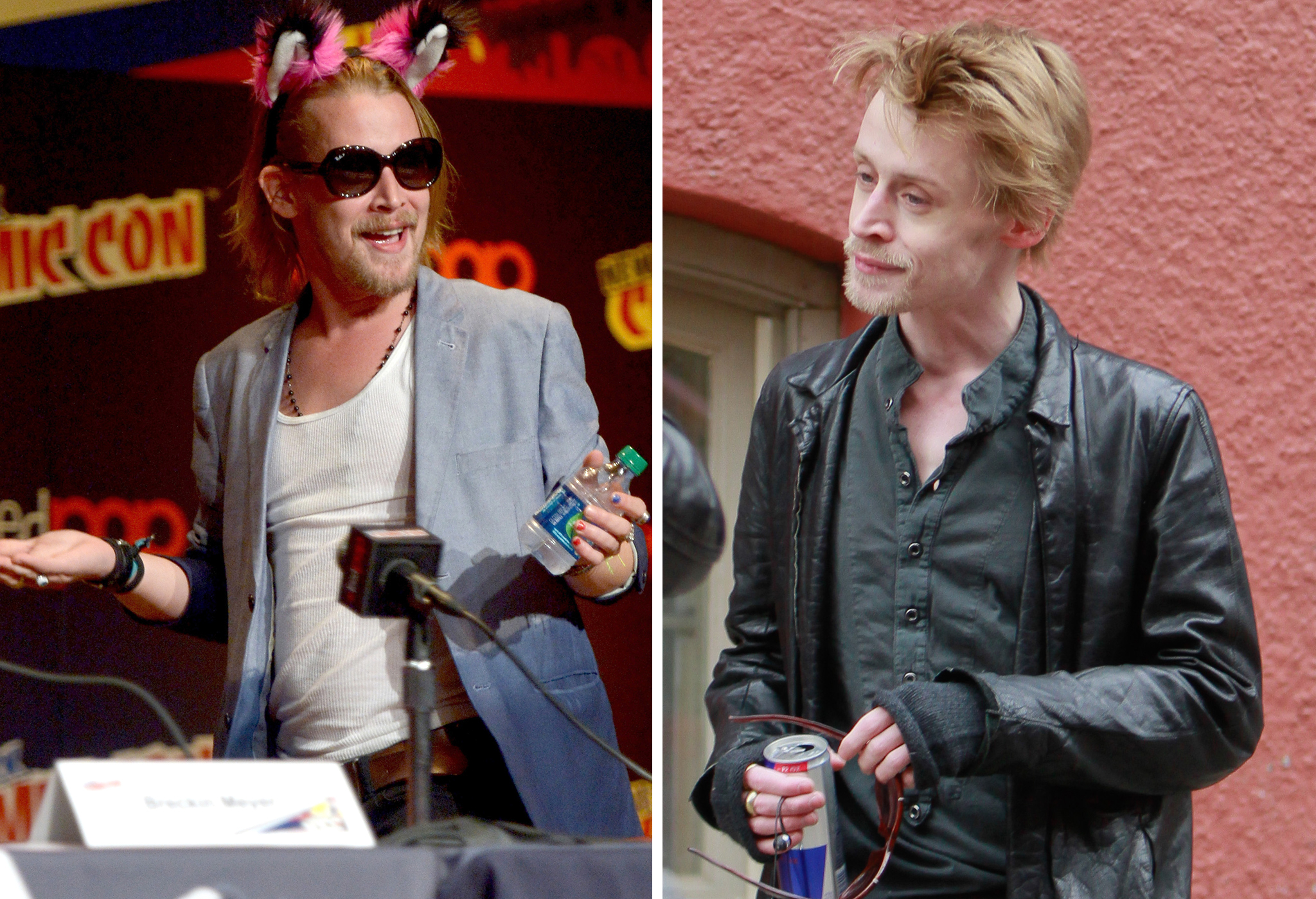 Macauly Culkin at New York Comic Con and last year looking entirely different. (L-R)