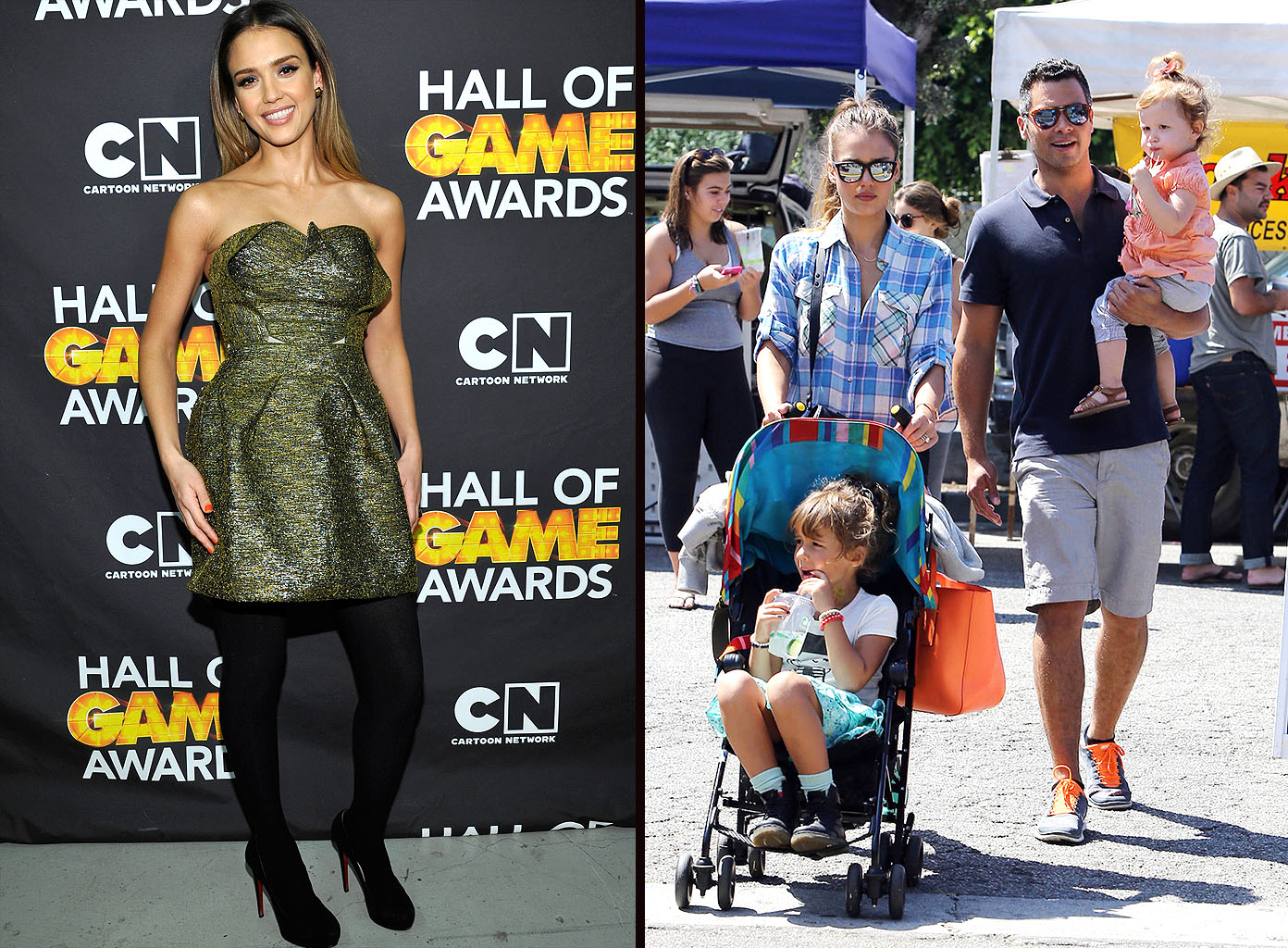 Jessica Alba on the red carpet, Alba with her family. (Getty Images/PacificCoastNews.com)