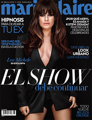 Lea Michele is on the cover of August's Marie Claire Mexico.