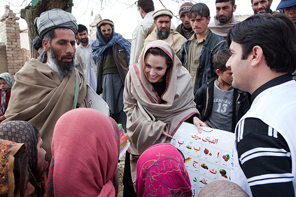 Angelina Jolie visiting the site of her school in 2011 (Getty Images)