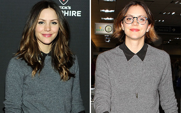 Katharine McPhee snipped her long locks. (Getty Images, Splash News)