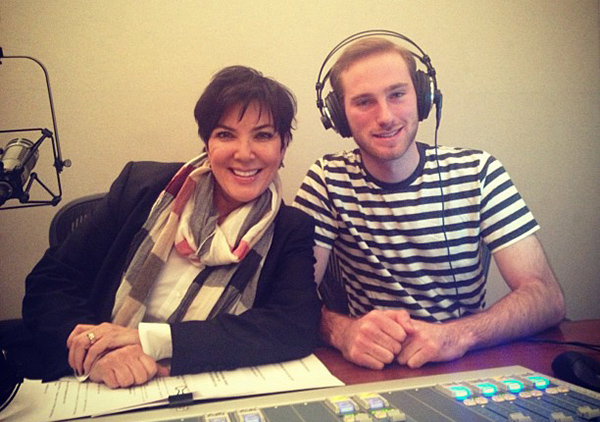 Kris Jenner with sound engineer, Jake (Dirty Pop with Lance Bass/SiriusXM)