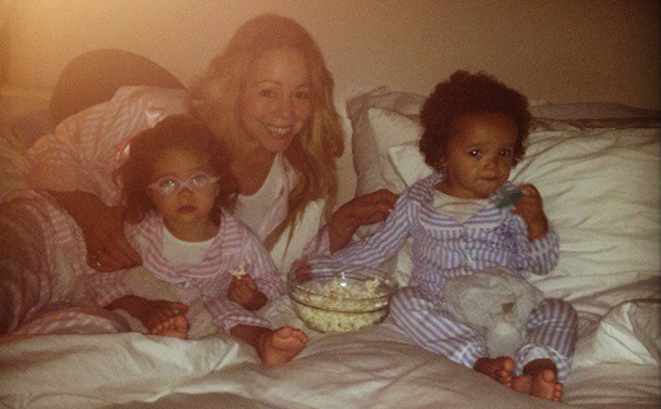 Movie night! Mariah with Moroccan and Monroe (Twitter)