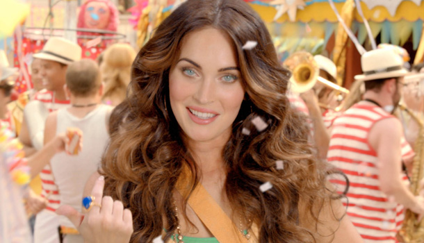 Megan Fox in her new beer commercial. (Splash News)