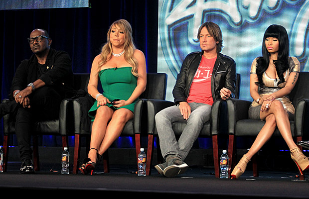 Randy Jackson, Carey, Keith Urban, Minaj on Tuesday. (Frederick M. Brown/Getty Images)