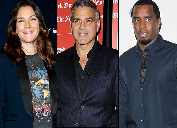 Drew Barrymore, George Clooney, and Diddy (WireImage)