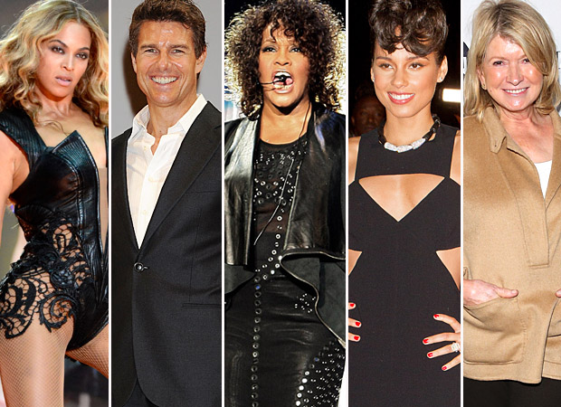 (l-to-r) Beyonce, Tom Cruise, Whitney Houston, Alicia Keys, Martha Stewart (WireImage)