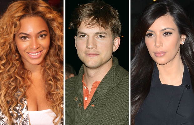 Beyonce, Kutcher, and Kardashian. (Ray Amati/George Pimentel/Doug Meszler/Getty Images/Splash News)