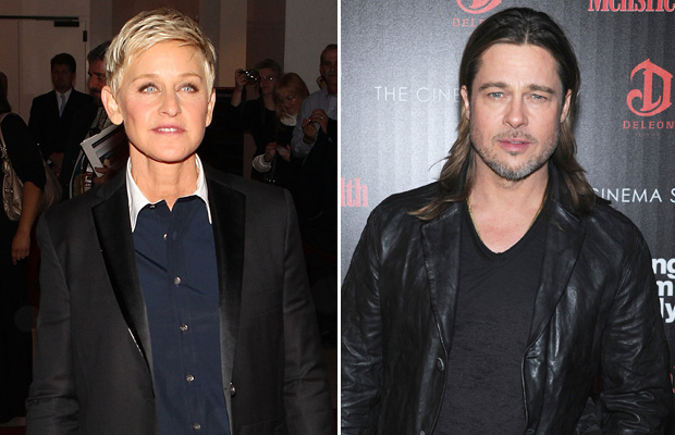 Ellen DeGeneres and Brad Pitt's upcoming film were both mentioned. (Paul Morigi/Dimitrios Kambouris/WireImage)