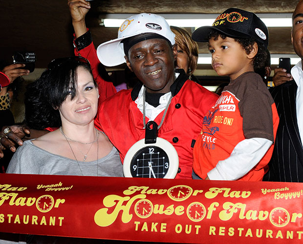 Liz Trujillo, Flavor Flav and their son, March 2012 (Ethan Miller/Getty Images)