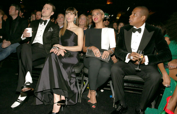 Justin Timberlake, Jessica Biel, Beyonce and Jay-Z (Christopher Polk/Getty Images)