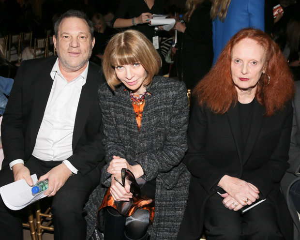 Harvey Weinstein, Anna Wintour, and Grace Coddington (Photo Credit: David X Prutting/BFAnyc.com for FIJI Water)