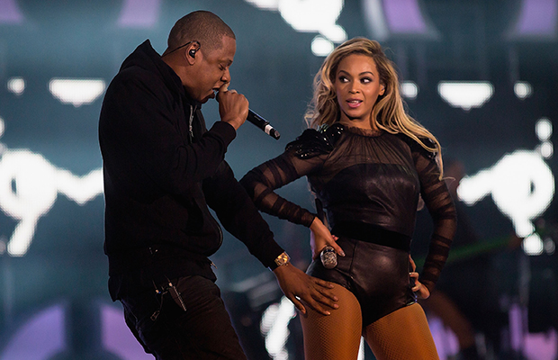 Jay-Z and Beyonce at Chime for Change charity concert on 6/1/13 (Getty Images)