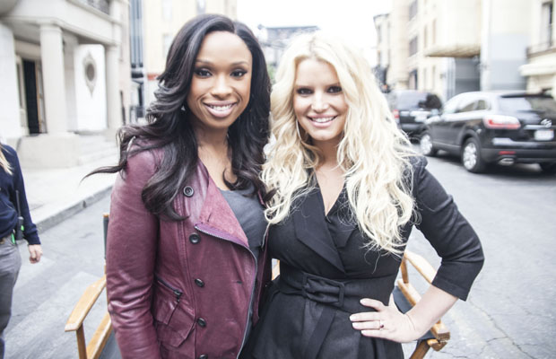 Jennifer Hudson and Jessica Simpson shoot a commercial together. (Weight Watchers)