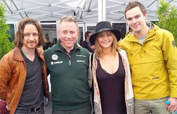 James McAvoy, Jennifer Lawrence, and Nicholas Hoult at the Canadian Grand Prix (Facebook)