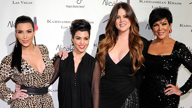 Kim, Kourtney, and Khloe Kardashian, with mom Kris Jenner (Getty Images)