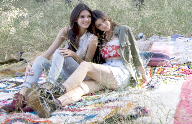 Kendall and Kylie Jenner model their new clothing line for PacSun. (Harper Smith for PacSun)
