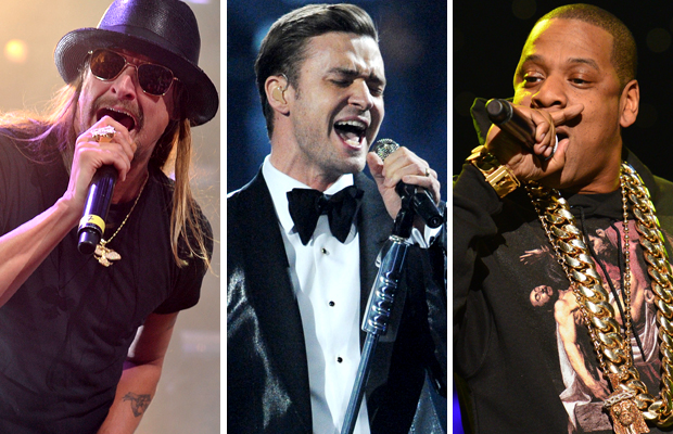 Kid Rock, Justin Timberlake and Jay-Z (Getty Images)