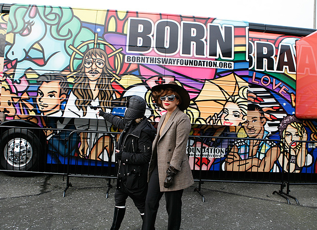 Gaga unveils her Born Brave Bus. (Getty Images)