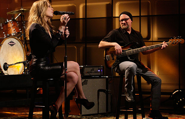 Rimes and her bandmates on Leno on Tuesday.
