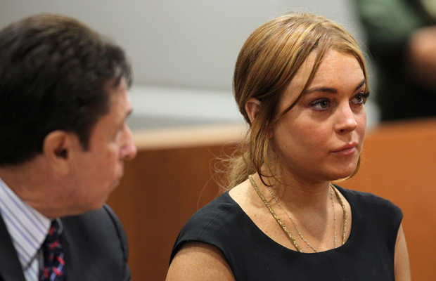 Lindsay Lohan in court with her lawyer Mark Jay Heller in January. (Getty Images)