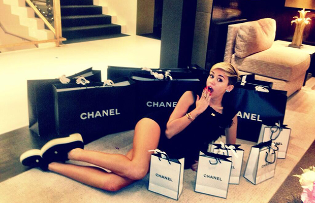 Uh oh! Miley Cyrus does damage at Chanel! (Twitter)