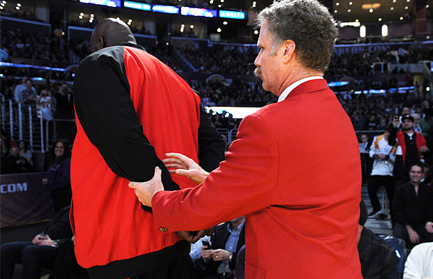 Ferrell ousts Shaq from the crowd. (Splash News)