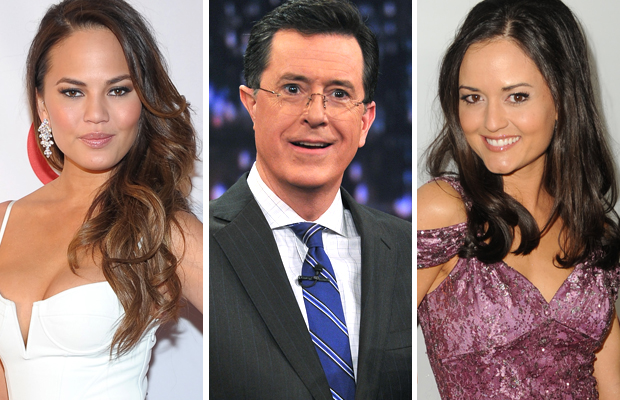 Chrissy Teigen, Stephen Colbert, and Danica McKellar (Michael Loccisano/Theo Wargo/Kevin Winter/Getty Images (3))