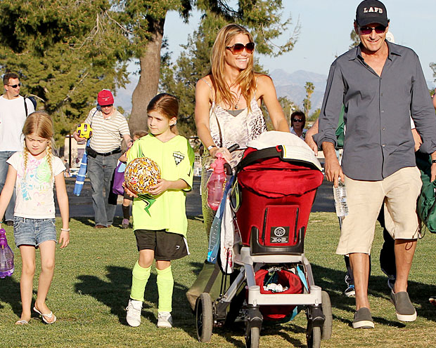 Charlie Sheen with Sam, second from left, Lola, Denise Richards, and Richards' adopted baby Eloise. (Aguilar/Jones/PacificCoastNews.com)