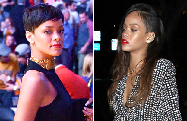 Rihanna before and after her new hairstyle. (Noel Vasquez/ROLO-Getty Images/AKM Images/GSI Media)